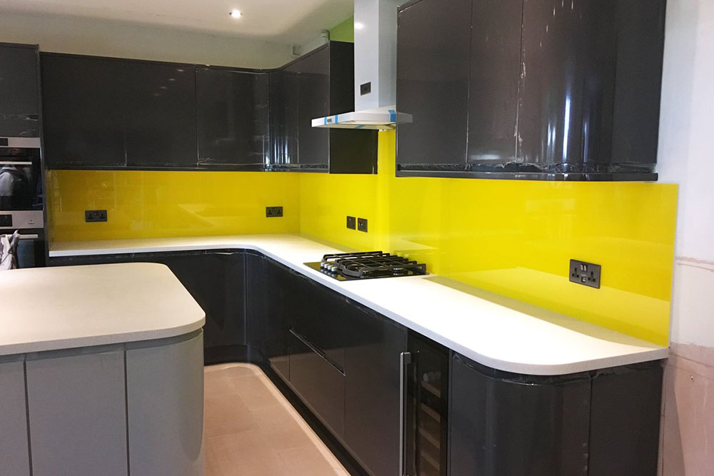 Glass Kitchen Splash Back Yellow