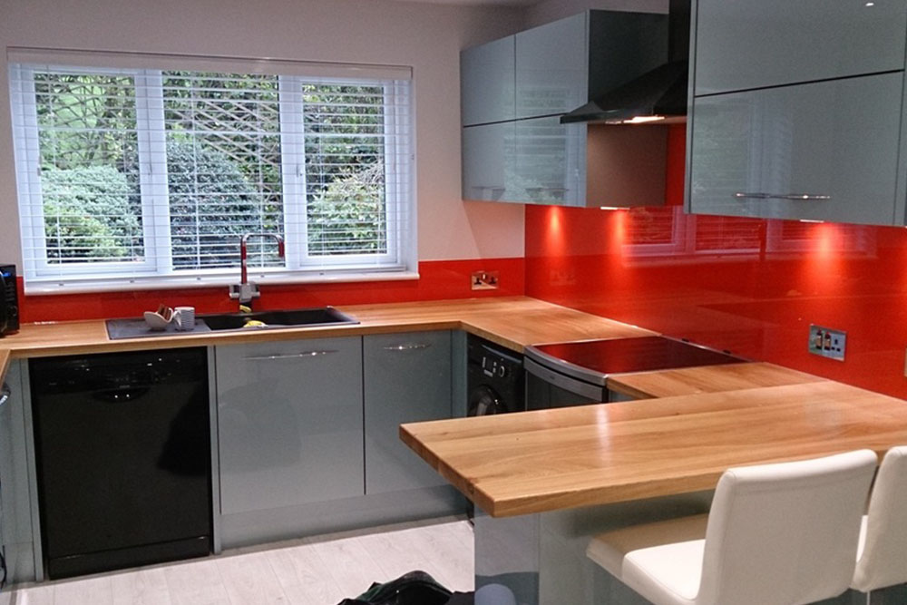 Glass Kitchen Splash Back Red